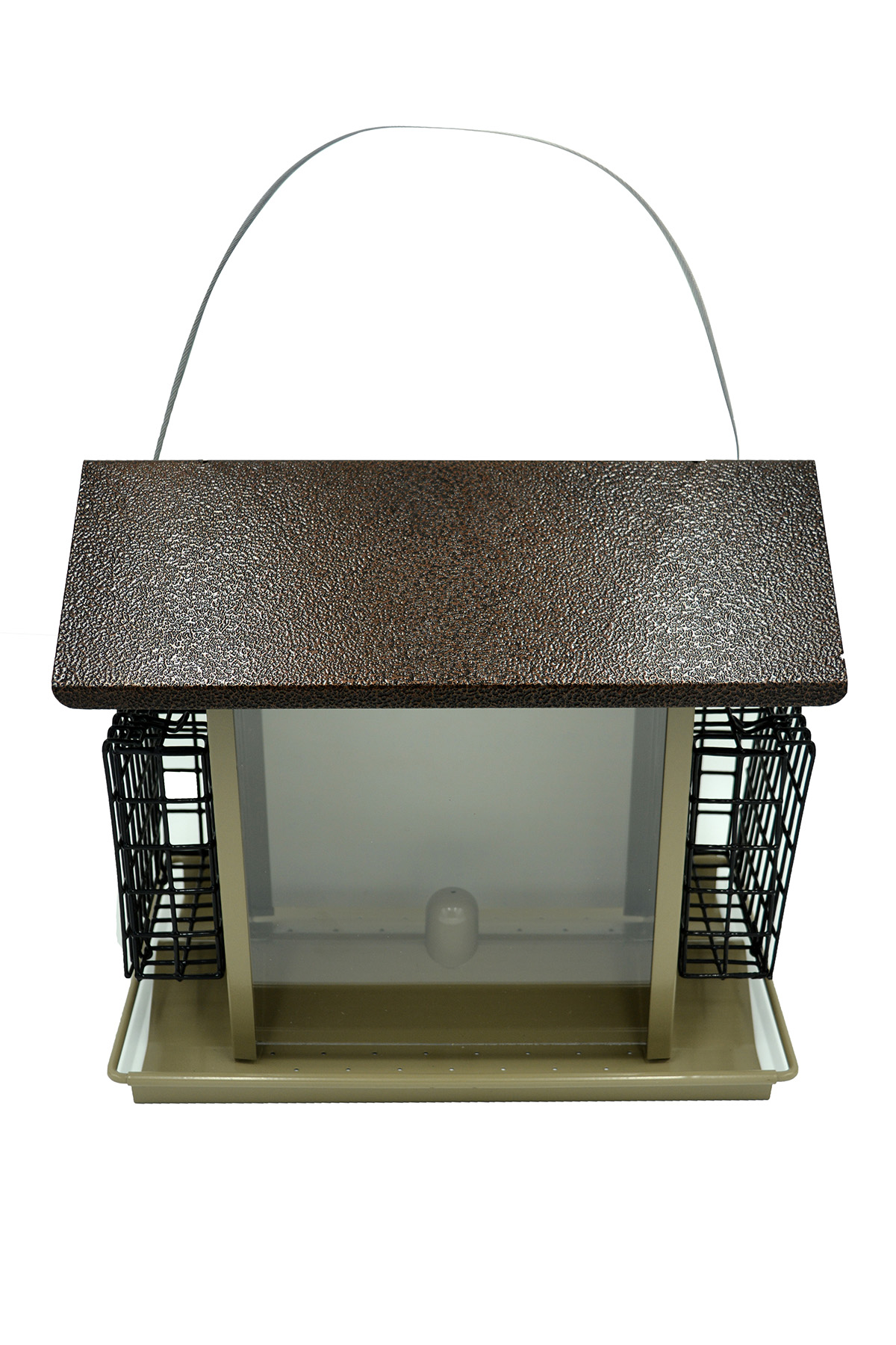 Large Bird Hopper Feeder Z38073 6.3 qt Capacity, 9.41 x 13-1/2 x 8.27 inches, Hammered Copper