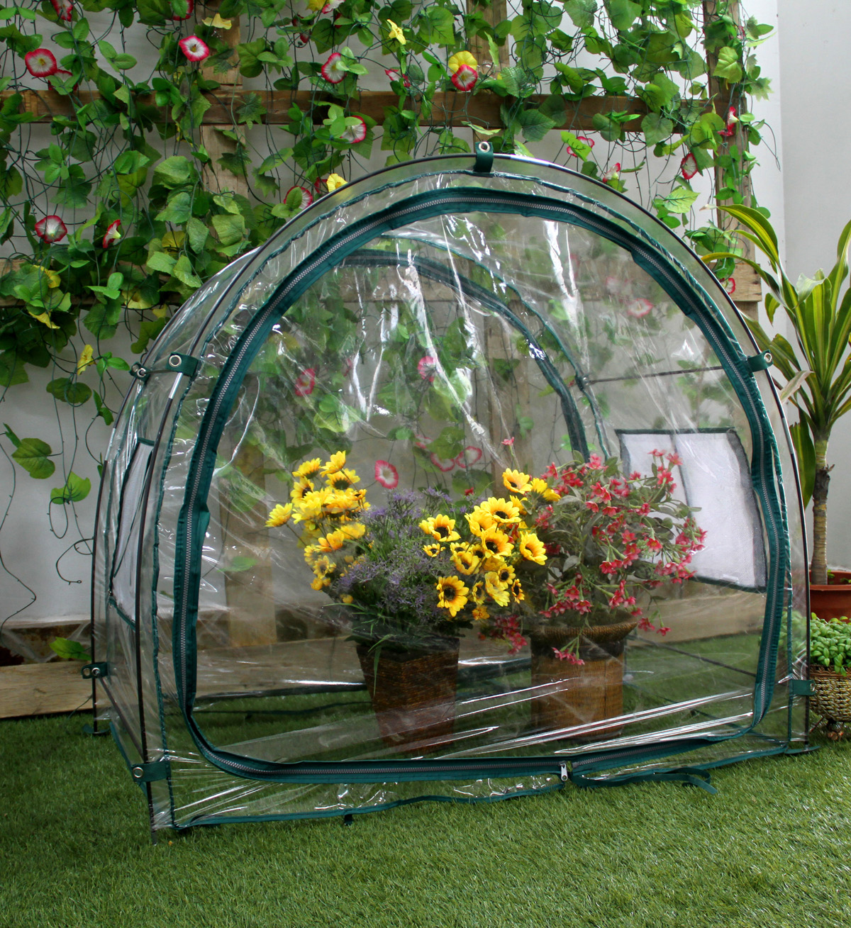 Zenport Mini Greenhouse SH3050LG-PVC-A for Protected Patio, Balcony Plant Growing and Gardening , 3.3 x 2 x 3.3-Feet