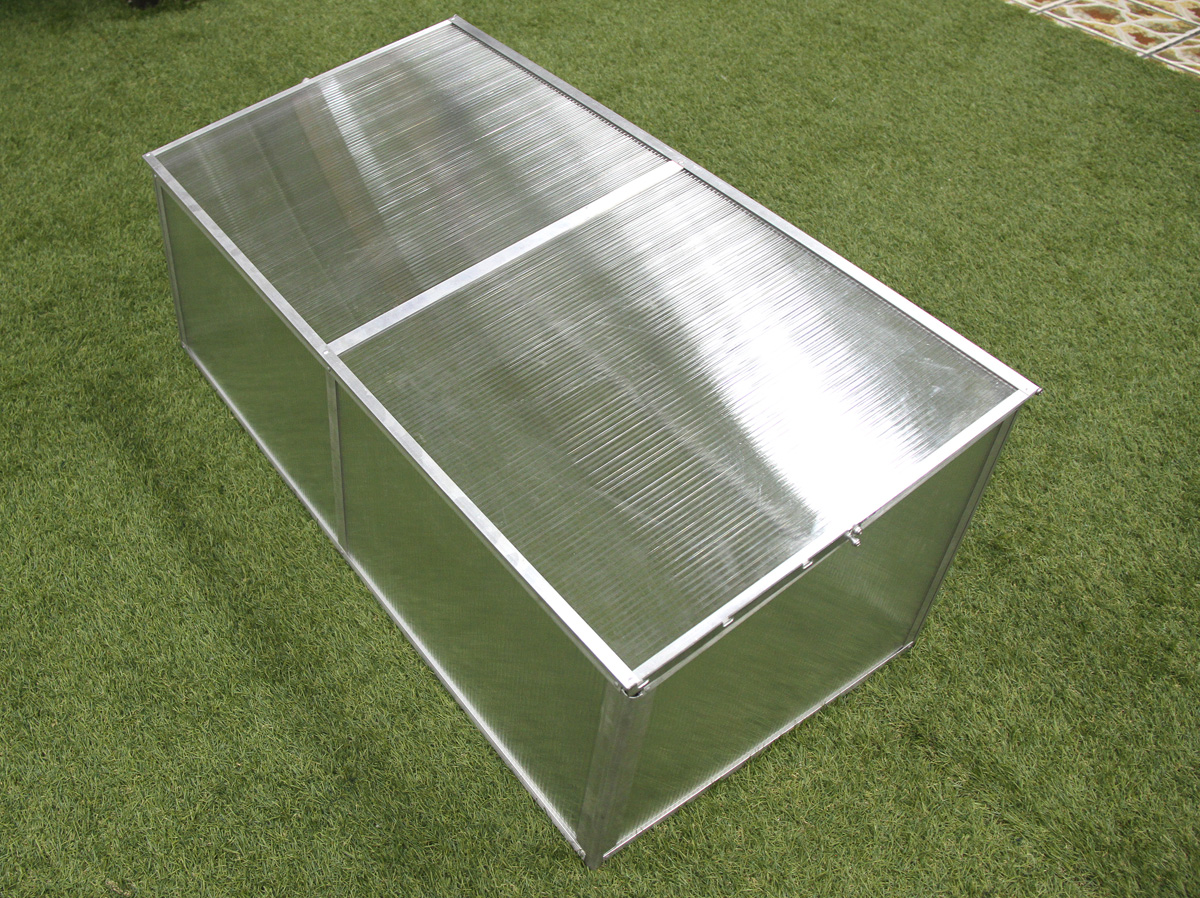 Zenport Mini Greenhouse SH7005-ZD Folding Aluminum Cold Frame Greenhouse, Foldable, 3.3 x 1.6 x 1.3-Feet