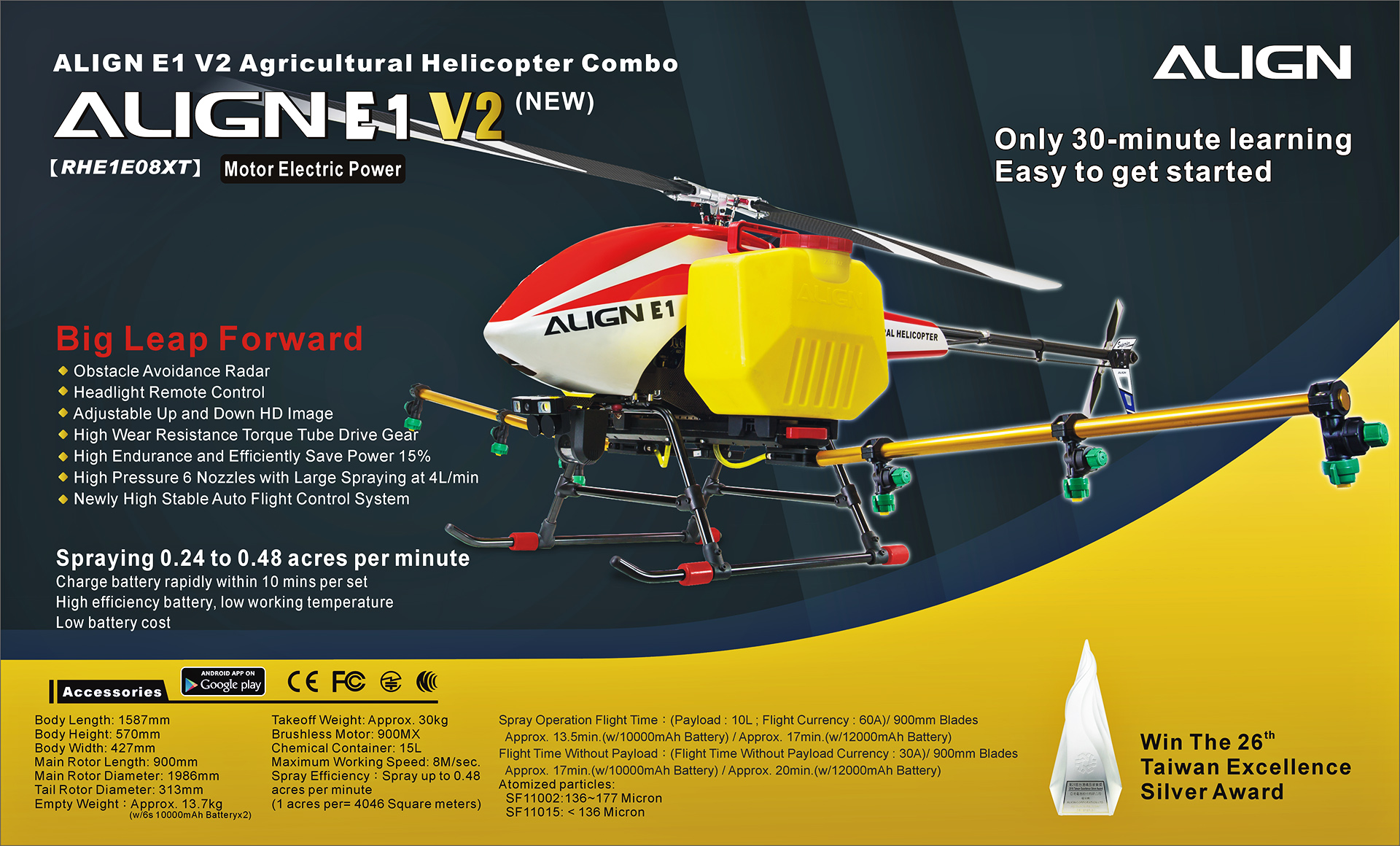 Agricultural Helicopter E1 V2 Crop Spraying Drone Combo, Battery Powered, Two-Blade Rotor