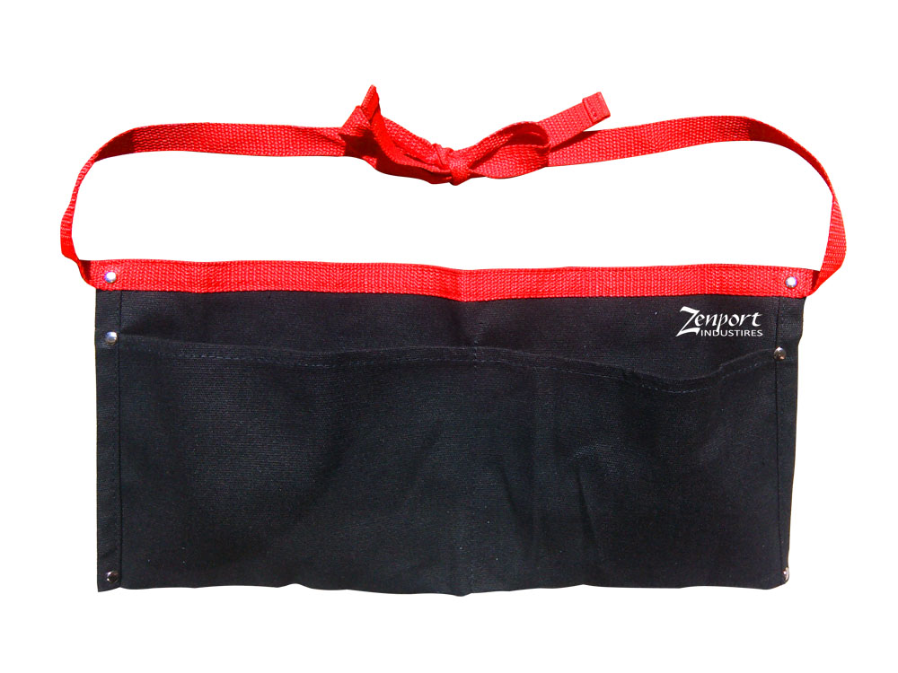 Zenport AG4030 Heavy Duty Black Canvas Double Pocket Apron, 17 x 8 1/4-Inches