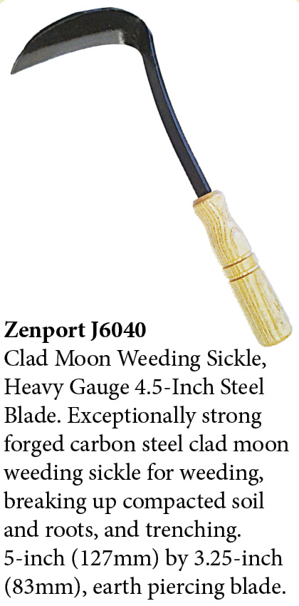 Zenport Sickle J6-040 Clad Moon Weeding Sickle, Forged Carbon Steel