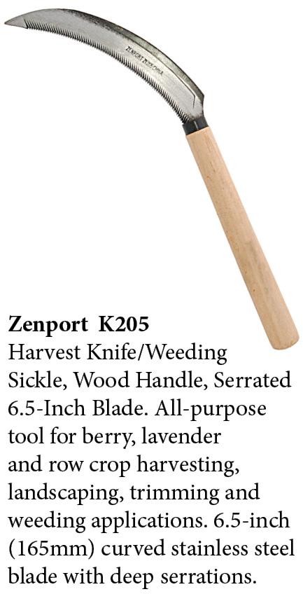 Zenport Sickle K205 Harvest Knife Weeding Sickle, Berry Lavender Vegetable Landscape, Wood Handle, Serrated Edge, 6.5-Inch Blade