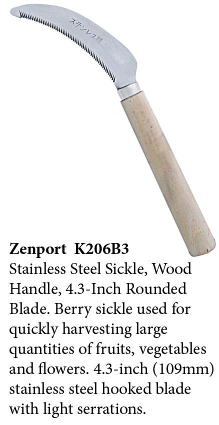 Zenport Sickle K206B3 Berry Knife/Weeding Sickle, Wood Handle, A+ Grade, Stainless Steel, Deep Serration, 4.3-Inch Blade