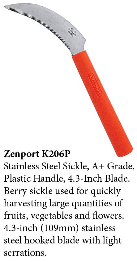 Zenport Sickle K206P Berry Knife/Weeding, Orange Plastic Handle, A+ Grade, Stainless Steel, Light Serration, 4.3-Inch Blade