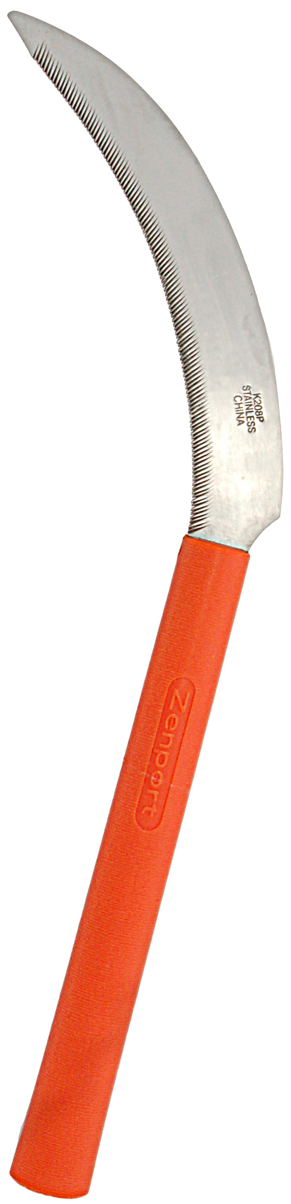 Sickle K208P Harvest Sickle, Orange Plastic Handle, Light Serration, 6.5-Inch Stainless Steel Blade