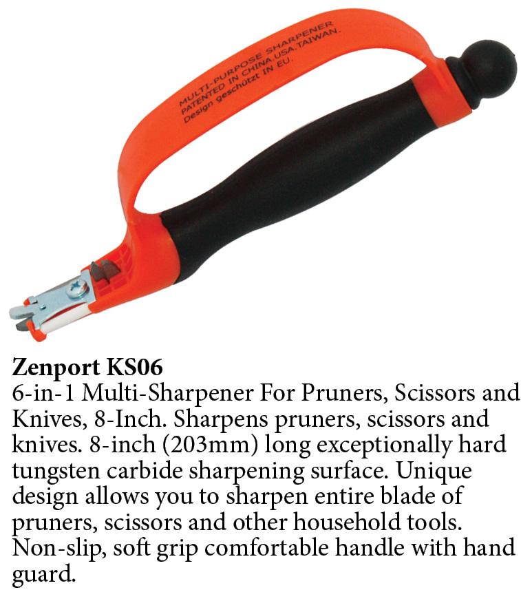 Zenport Sharpening Tool KS06 6-In-1 Multi-Sharpener For Pruners, Scissors And Knives, 8-Inch Long