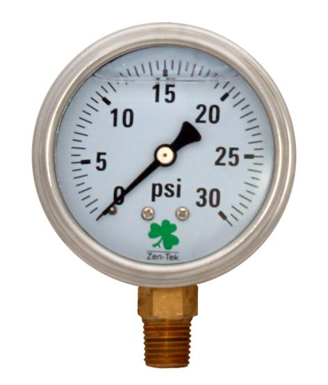 Pressure Gauge LPG15 Liquid Glycerin Filled Pressure Gauge, 0-15 Psi