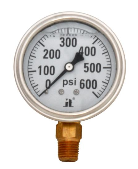 Pressure Gauge LPG600 Liquid Glycerin Filled Pressure Gauge, 0-600 Psi