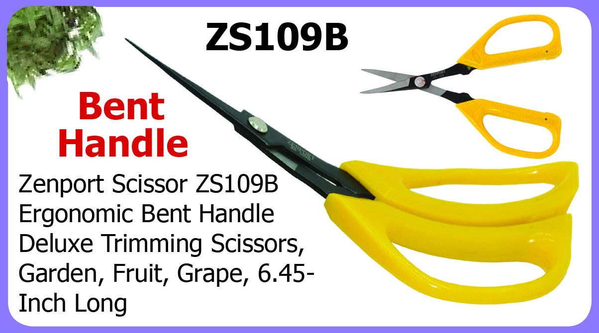 Zenport Scissors ZS109B Ergonomic Bent Handle Deluxe Trimming Scissors, Garden, Fruit, Grape, 6.5-Inch Long