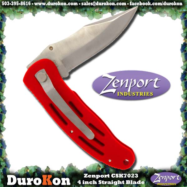 "Zenport Folding Knife Cuchillo, 4 "", la hoja plegable, recto. Crusader."