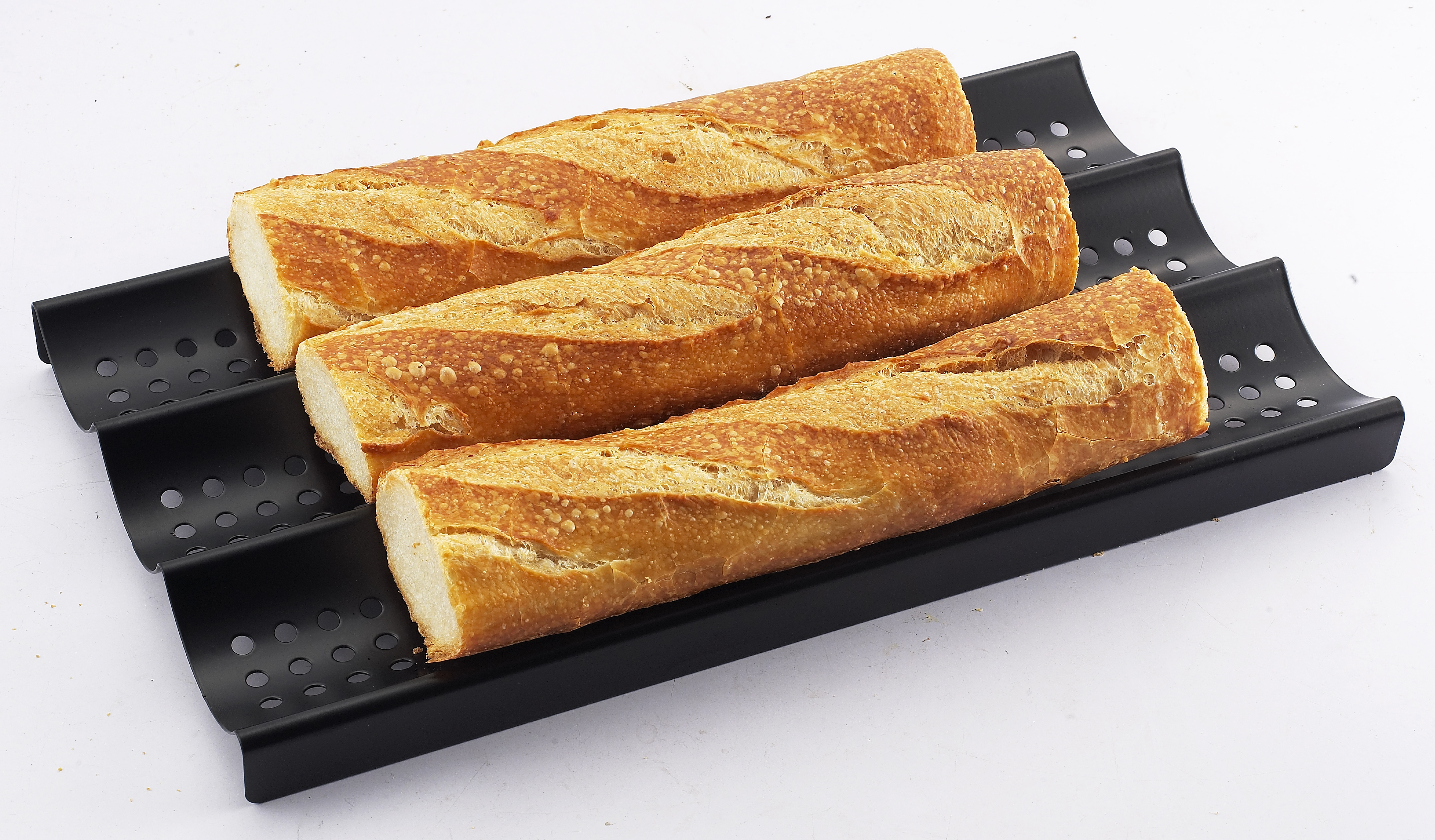 ZenUrban 870002 3-Loaf Perforated Baguette French Bread Pan, Nonstick, 16 by 9-Inches