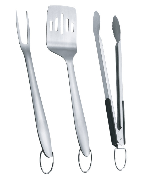 ZenUrban 880006A 3-Piece BBQ Grill Tool Set: Spatula/Tongs/Fork, Stainless Steel
