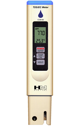 Zenport Hydro Quality Tester Meter COM80 Measures EC/TDS, Temperature Testing, Water Resistant, Factory Calibrated