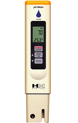 Zenport Hydro pH Tester Meter, PH-80 Measures pH, Temperature Testing, Water Resistant, Factory Calibrated