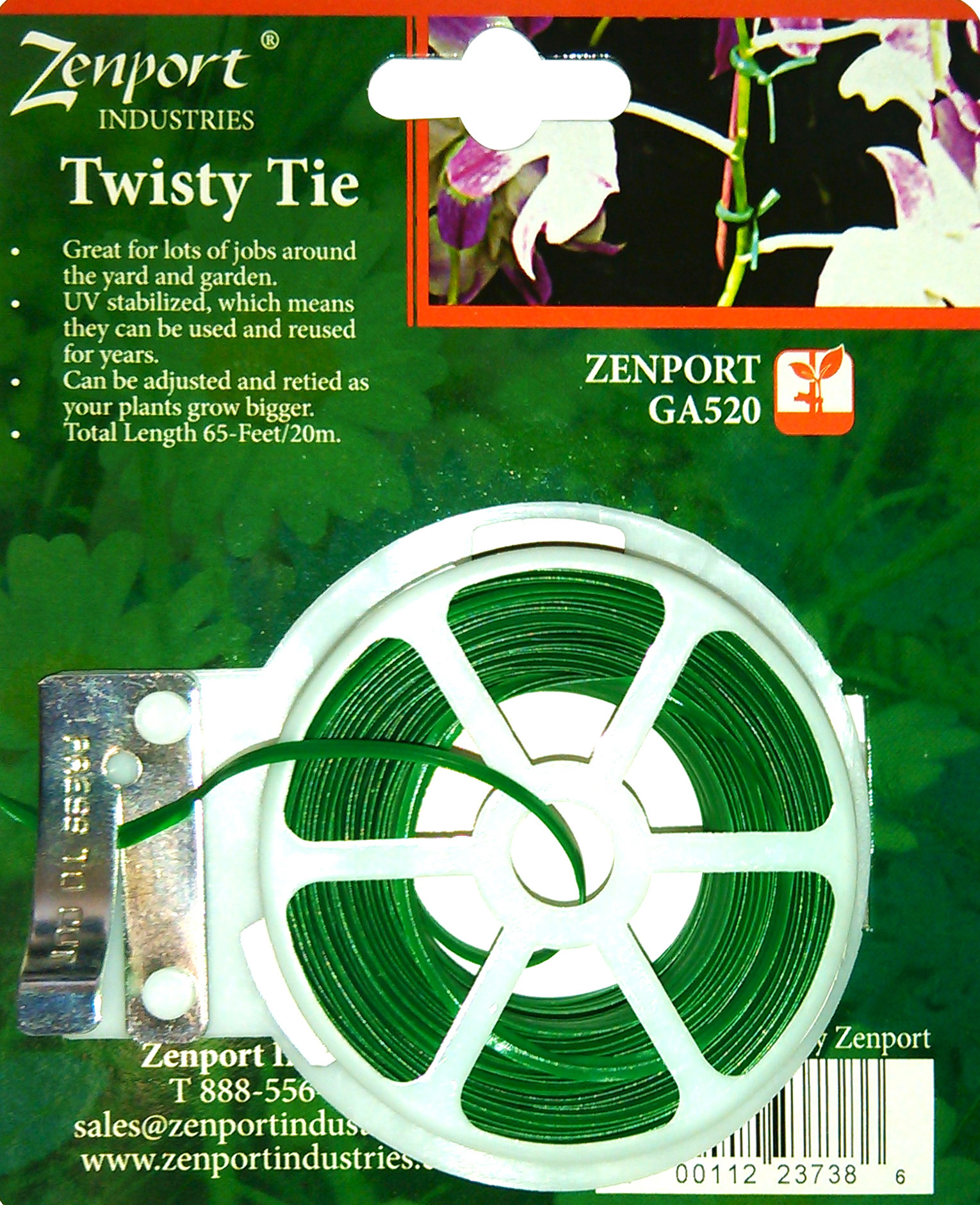 Zenport Plant Twisty Tie GA520 Garden Twisty Plant Tie, 65-Feet Long