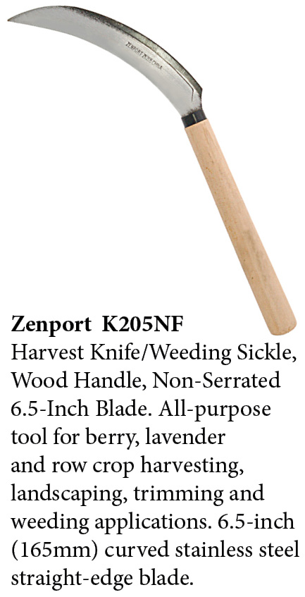 Zenport Sickle K205NF Harvest Knife Weeding, Berry, Lavender, Vegetable, Landscape, Wood Handle, Straight Edge, 6.5-Inch Blade