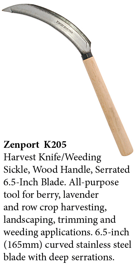 Zenport Sickle K205 Harvest Knife Weeding Sickle, Berry Lavender Vegetable Landscape, Wood Handle, Serrated Edge, 6.5-Inch Blade