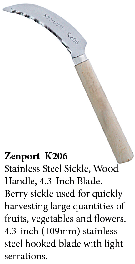 Zenport Sickle K206 Berry Knife/Weeding Sickle, Wood Handle, A+ Grade, Stainless Steel, Serrated 4.3-Inch Blade