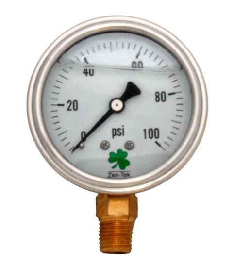 Pressure Gauge LPG100 Liquid Glycerin Filled Pressure Gauge, 0-100 Psi