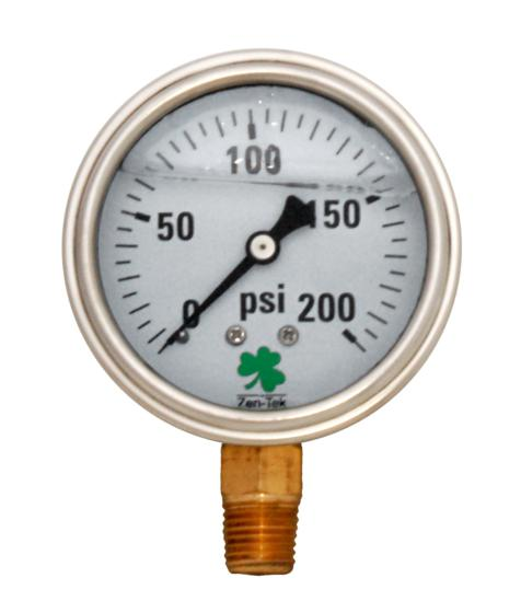 Pressure Gauge LPG200 Liquid Glycerin Filled Pressure Gauge, 0-200 Psi