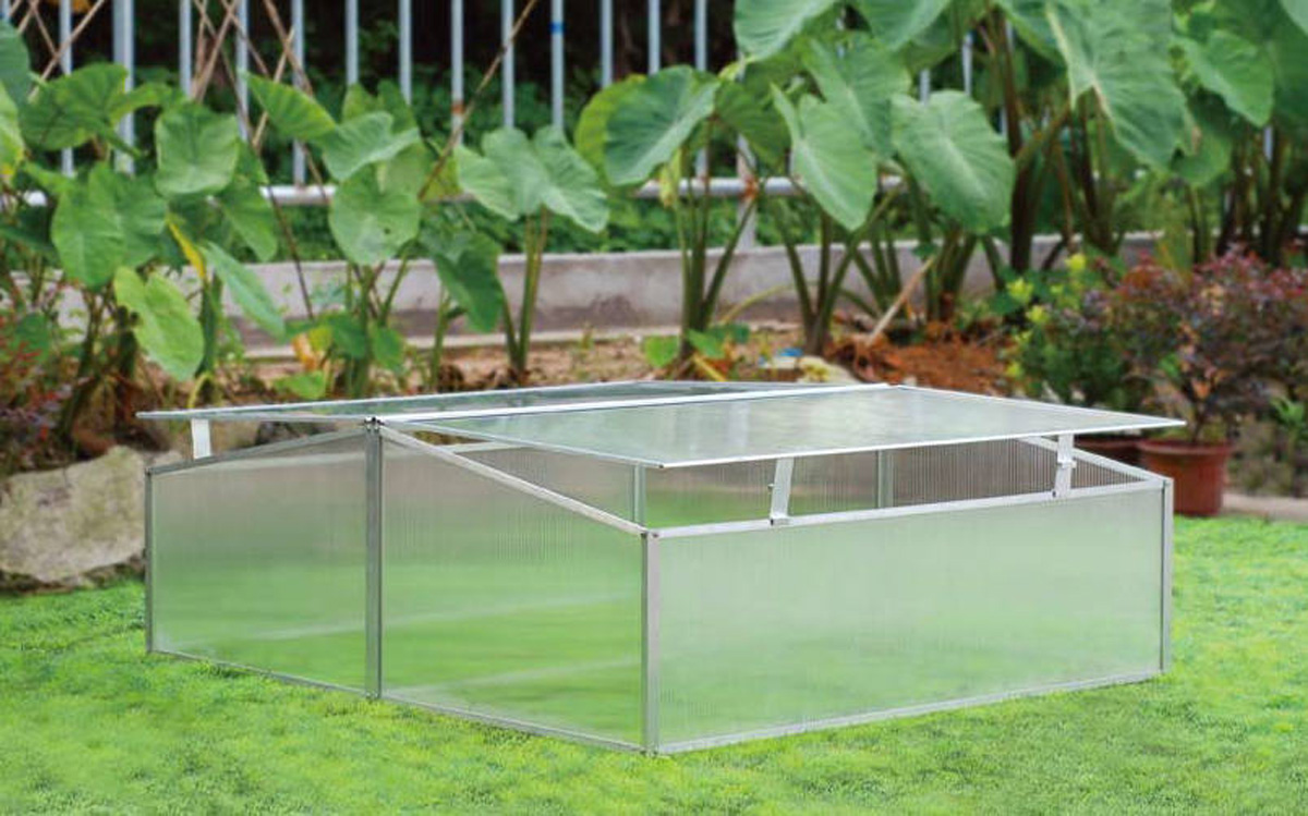 Mini Greenhouse SH7005-2-ZD Double-Wide Folding Aluminum Cold Frame Greenhouse, 3.3 x 3.3 x 1.3-Feet