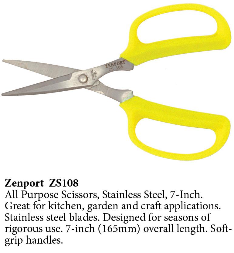 Zenport Scissors ZS108 All Purpose Scissors, Stainless Steel, 7-Inch