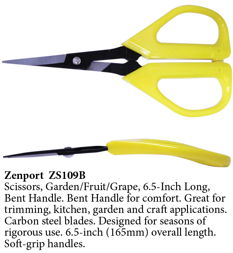 Zenport Scissors ZS109B Ergonomic Bent Handle Deluxe Trimming Scissors, Garden, Fruit, Grape, 6.5-Inch Long