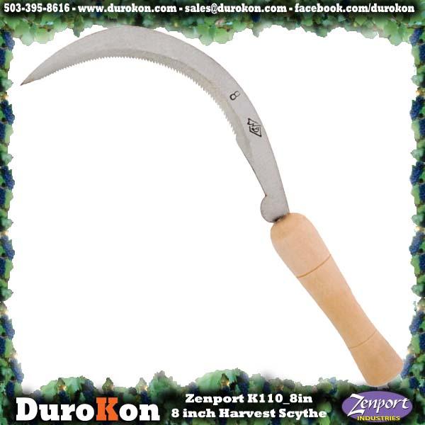 Zenport Scythe K110 8-Inch Harvest/Landscape Scythe, Serrated, Curved, 8-Inch Blade